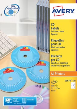 AVERY Full size laser etiketten voor CD/DVD