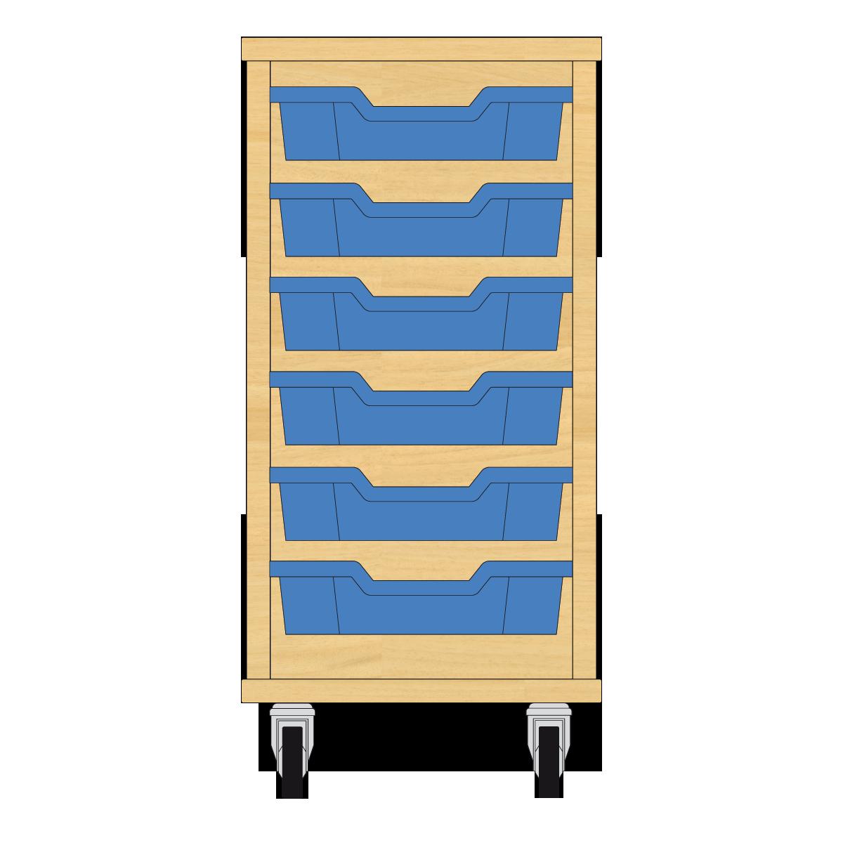 Storix Eigendomskast beuken 1 kol. 6 laden blauw