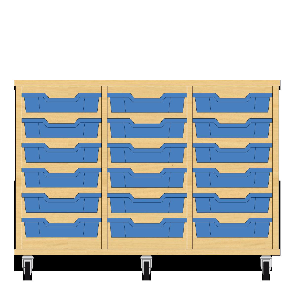 Storix Eigendomskast beuken 3 kol. 6 laden blauw