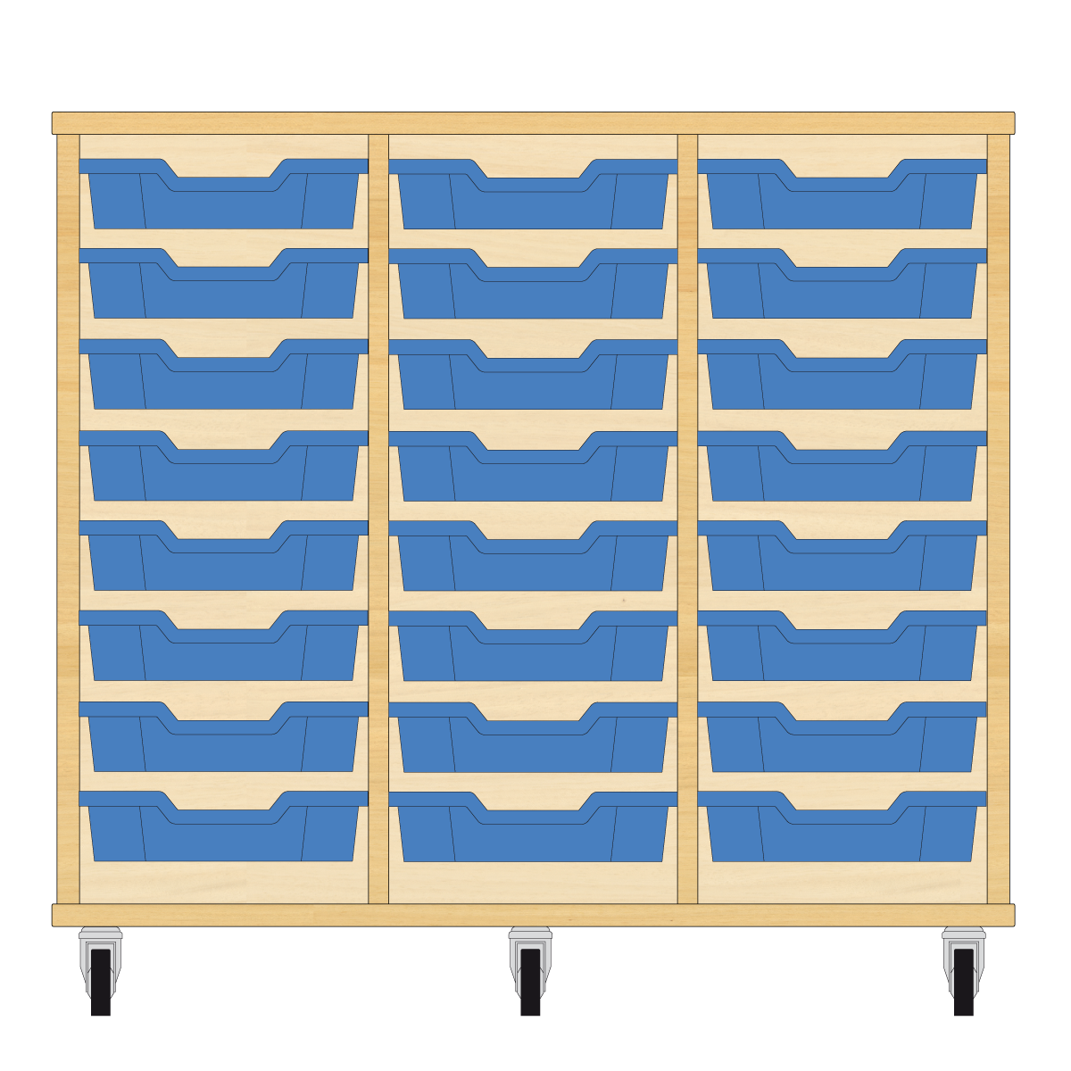 Storix Eigendomskast beuken 3 kol. 8 laden blauw