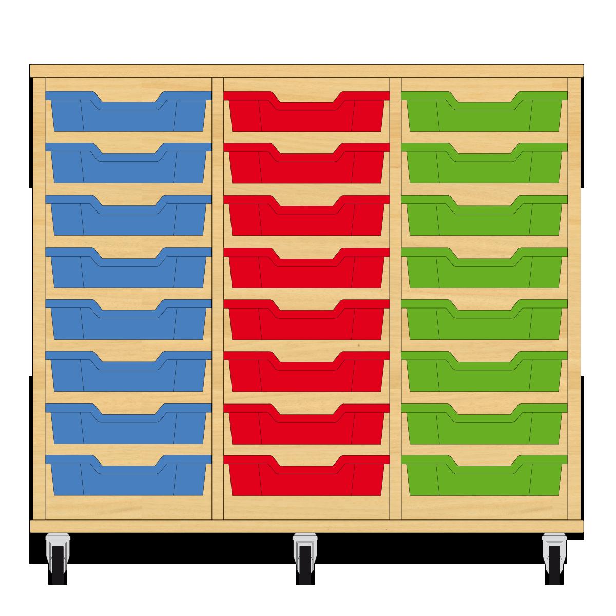 Storix Eigendomskast beuken 3 kol. 8 laden blauw-rood-groen