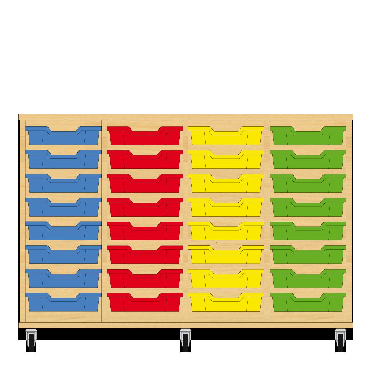 Storix Eigendomskast beuken 4 kol. 8 laden blauw-rood-geel-groen