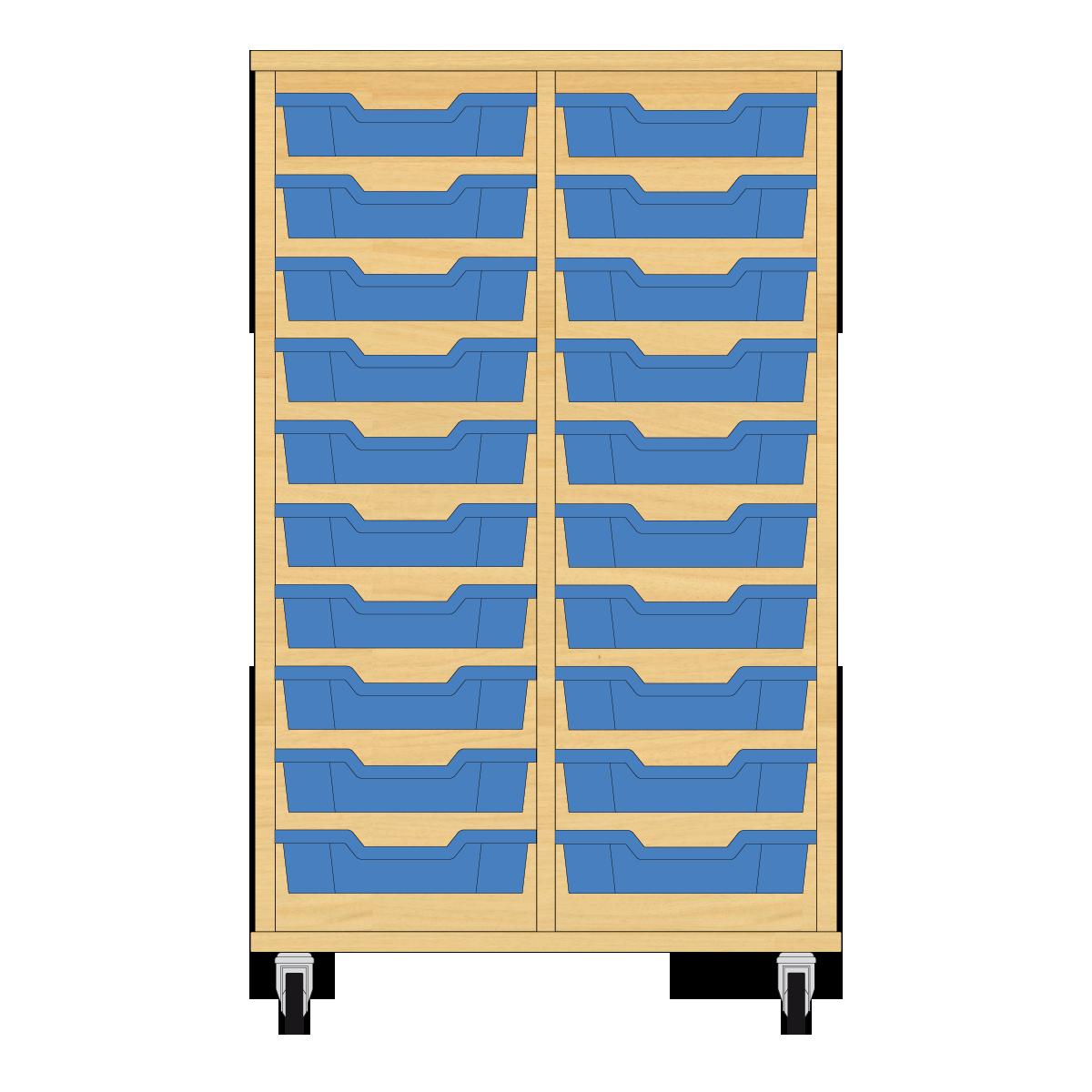 Storix Eigendomskast beuken 2 kol. 10 laden blauw
