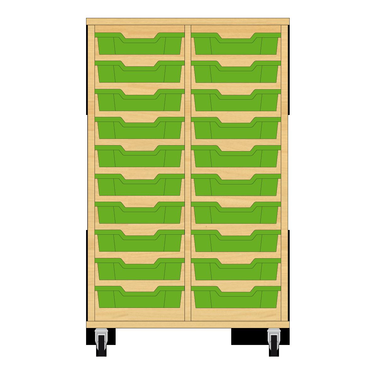 Storix Eigendomskast beuken 2 kol. 10 laden groen