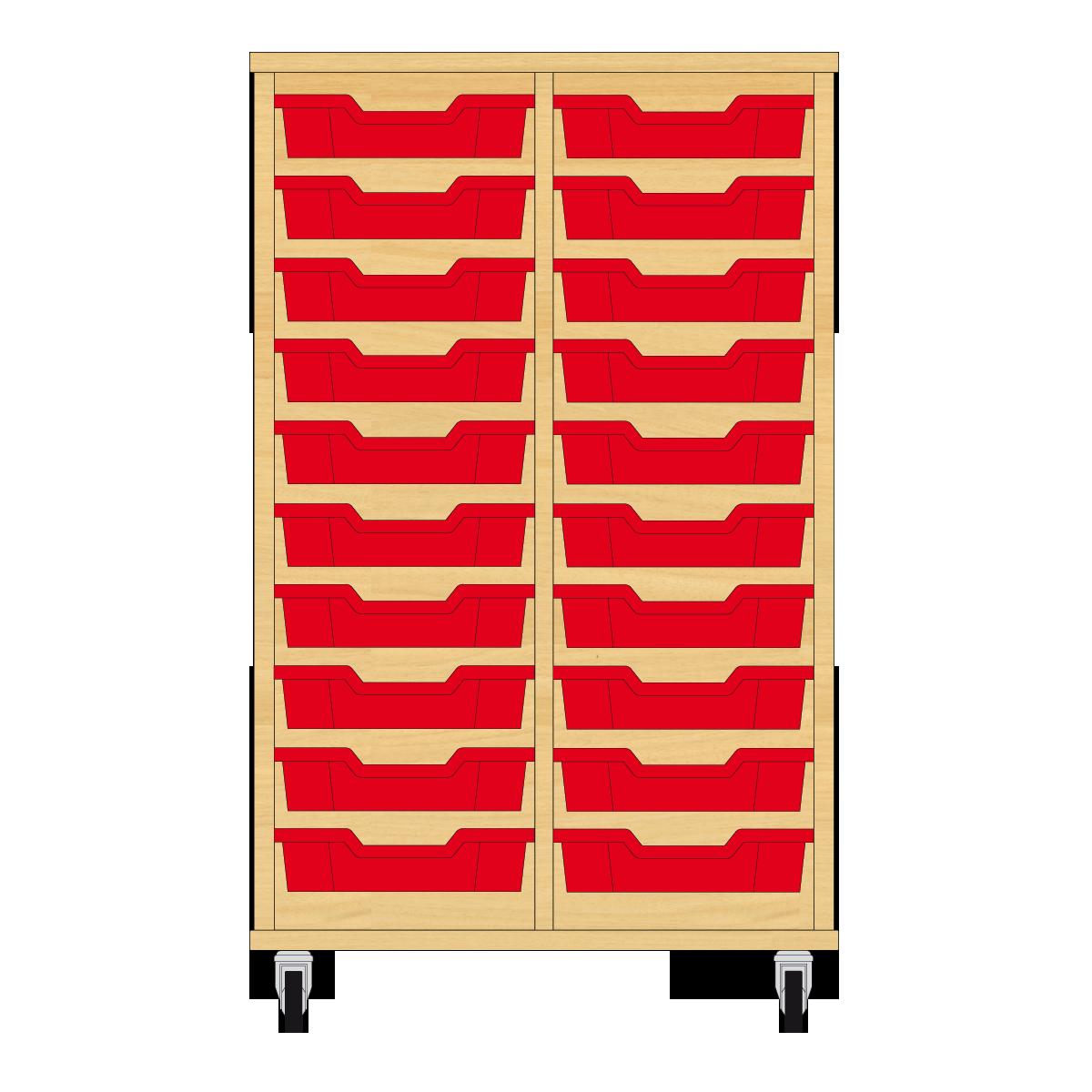 Storix Eigendomskast beuken 2 kol. 10 laden rood