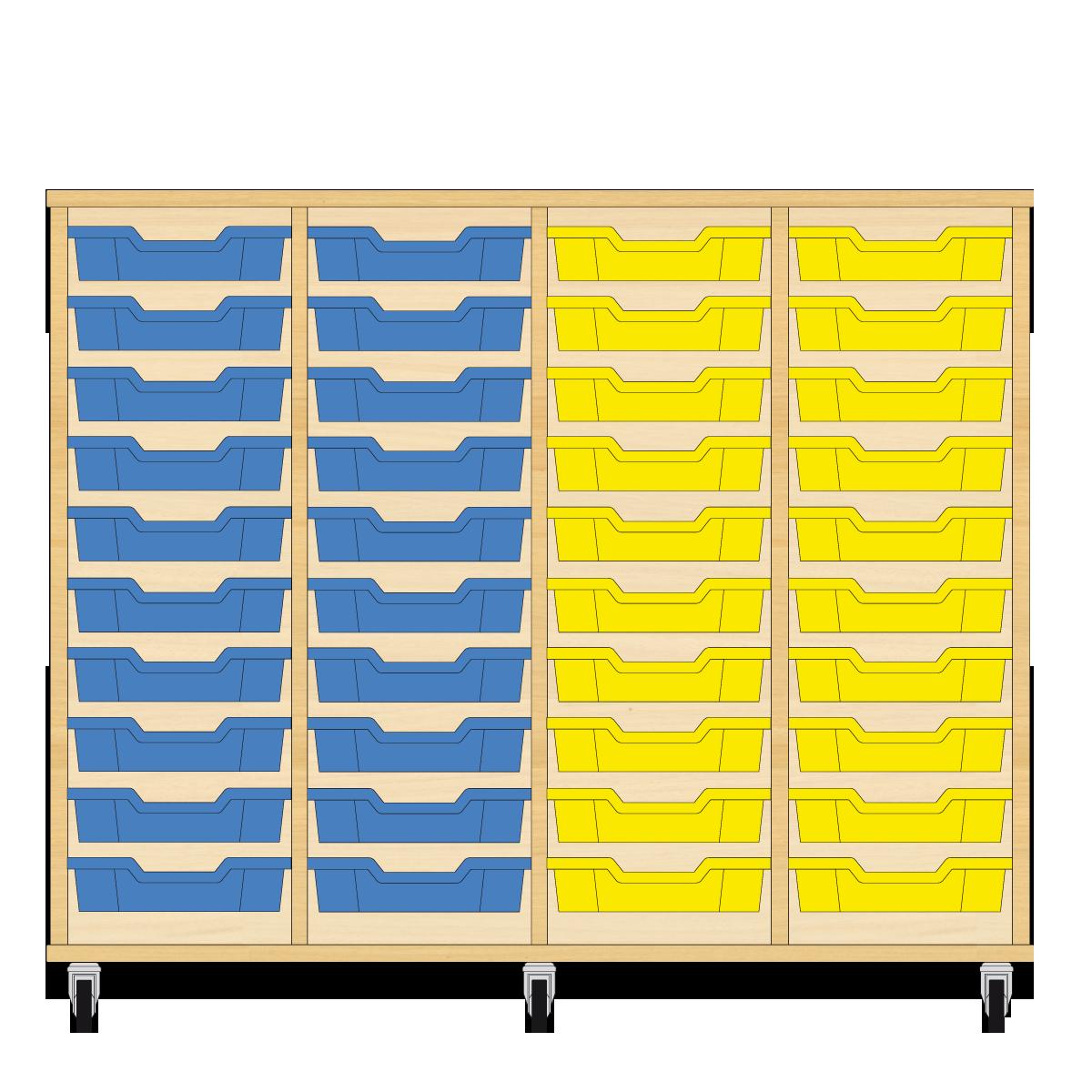 Storix Eigendomskast beuken 4 kol. 10 laden blauw-blauw-geel-geel