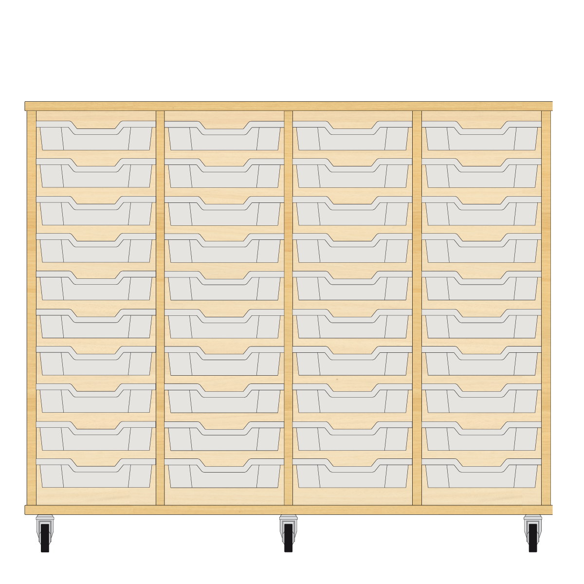 Storix Eigendomskast beuken 4 kol. 10 laden transparant