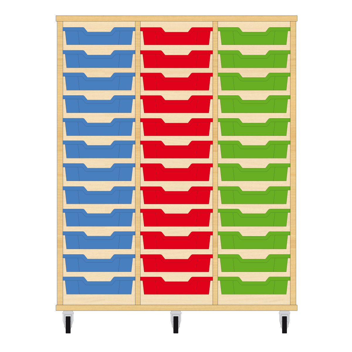 Storix Eigendomskast beuken 3 kol. 12 laden blauw-rood-groen